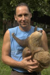 David with rescued orphaned sloths